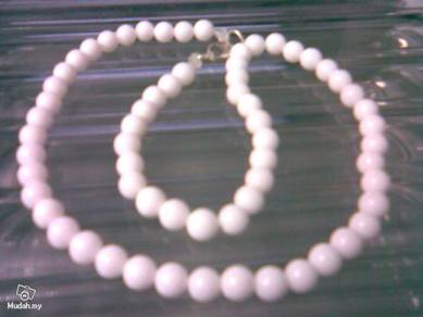 ABNJ-W003 6MM White Jade Round Beads 16'' Necklace
