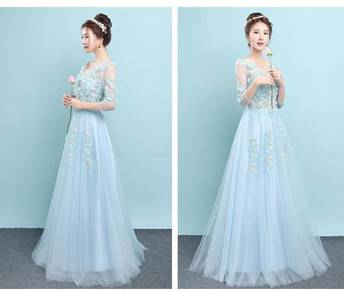 Blue Wedding bridal prom dinner dress gown RB0223