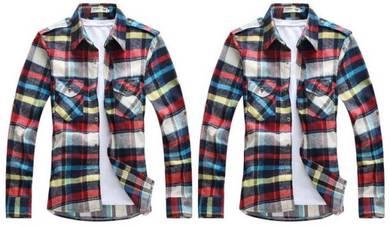 M0512 Kemeja Merah Biru Petak Lengan Panjang Shirt