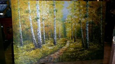 Huge oil painting rubber plantation SLG