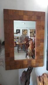 Aipj reclaimed teak wood hanging mirror