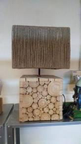 Aipj eucalyptus wood chips table lamp light