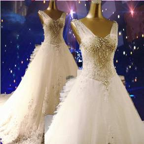 White diamond wedding prom dress gown RB0609