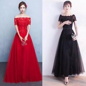 Black red off shoulder prom dress gown RBP0882
