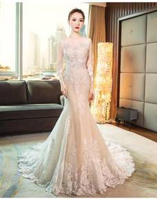Cream long sleeve wedding bridal dress gown RB0875