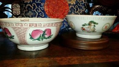 2Pcs vintage big bowls made in china SLG