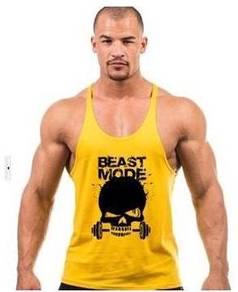 Beast Mode Gym Singlet string yellow(Sport Baju )