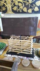 Aipj Mayala wood table light with lamp shade