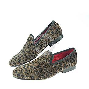 Leopard Prints Loafers Men Horsehair Shoes