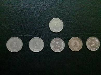 119 Duit 5sen syiling 5 sen singapore 5 cent coin