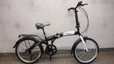Oscar folding Bicycle hitam vogue 20er 6sp bike