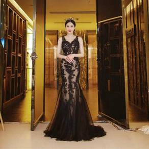 Black mermaid prom wedding dress gown RBP0887