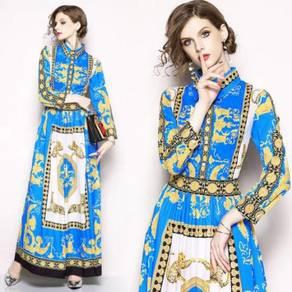 Blue white gold long sleeve maxi dress RBMWD0231
