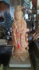 Aipj Guan yin buddha goddess carve teak wood