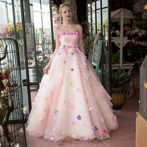 Pink tube flower wedding gown dress bridal RB0080