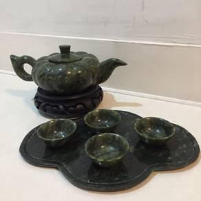 Antique Natural Jade Stone Chinese Tea Set