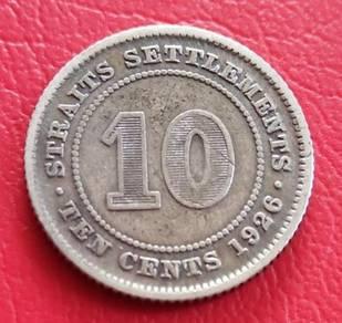 Duit Syiling Straits Settlements 10 Cents 1926 (B)