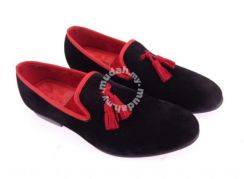 Tassel Velvet shoes Red Man