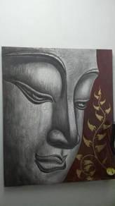 Aipj Buddha face painting art acrylic on canvas