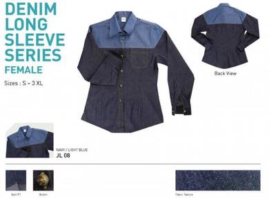 Baju Kemeja Korporat Corporate Denim Uniform FMALE