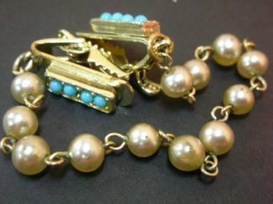 PN027 Vintage pearl clip chain