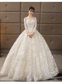 White long sleeve wedding bridal dress gown RB0872