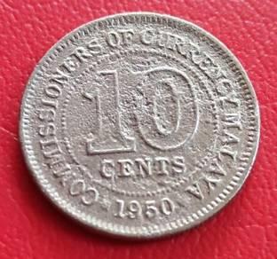 Duit Syiling Malaya 10 Cents 1950 (E)