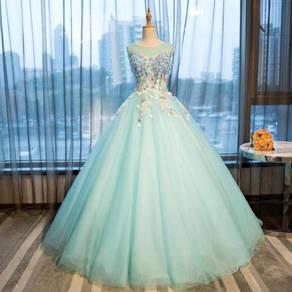Blue flower wedding gown dress bridal RB0082