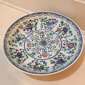 Antique Hand Painted Eight Auspicious Plate 8in