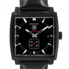 Tag Heuer Monaco Black Red Leather Strap