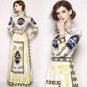 Blue white gold long sleeve maxi dress RBMWD0230