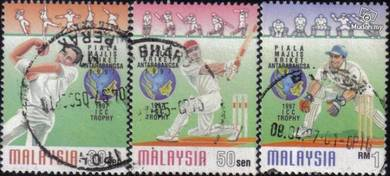 Use-d Stamp Cricket Council Trophy Malaysia 1997