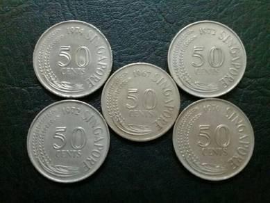 119 Duit lama syiling 50sen singapore 50 cent coin