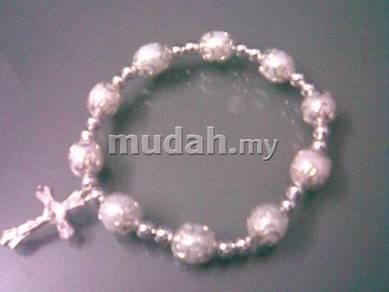 ABBSM-W001 Silver Metal White Pearl Beads Bracelet