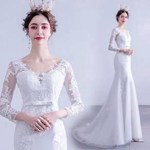 White long sleeve wedding bridal dress gown RB2115