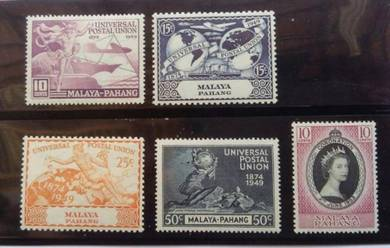 MALAYA Pahang 1949 UPU 1953 CORONATION MLH BL630