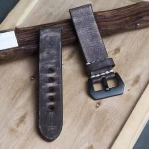 STRAPSCO DarkCoffee Distressed Leather Watch Strap