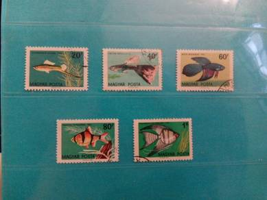 Set of 5 Hungary stamps, fish