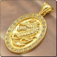 ABPGF-D004 9K GOLD FILLED Mens Dragon Necklace