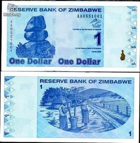 Zimbabwe 1 dollar 2009 p 92 revised trillion unc