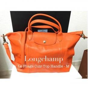 {REDUCED} Longchamp Le Pliage Cuir Top Handle - M