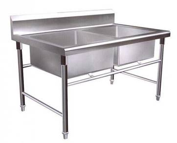 Stainless steel 2 double bowl sink table 4 feet