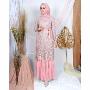 Gamis Mikhayla dress pink purple gold grey cream