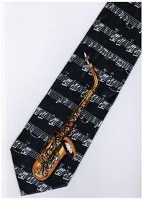 Saxophone Musical Symbols Instrument DARK Neck Tie
