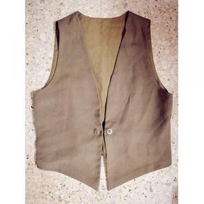 Brown sleeveless vest office formal OL plus size