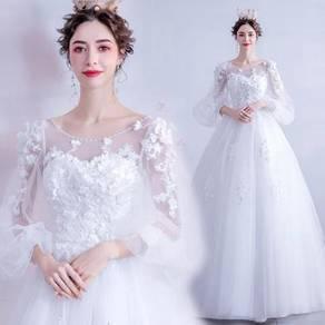 White long sleeve wedding bridal dress gown RB2106