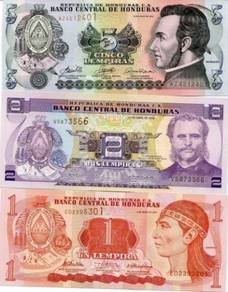 HONDURAS SET 3 PCS 1 2 5 LEMPIRAS unc