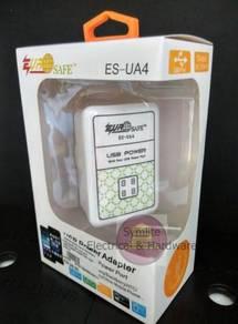 EUROSAFE ES-UA4 4in1 USB Power Adaptor 10W 3100mA