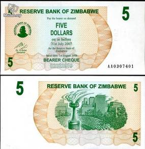 Zimbabwe 5 dollars b. cheque 2006 p 38 unc