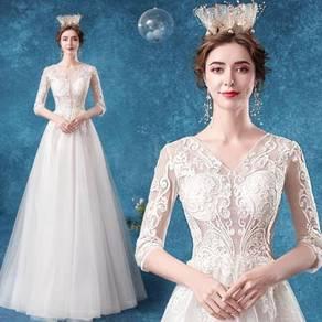 White long sleeve wedding bridal dress gown RB2105